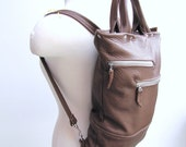 Unisex tan leather backpack and briefcase convertible messenger bag
