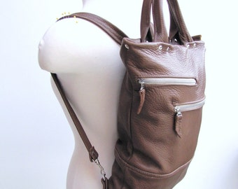 SALE - Unisex tan leather backpack and briefcase convertible messenger bag