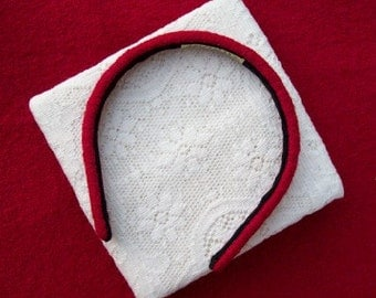Cranberry Red Hairband Narrow Wool