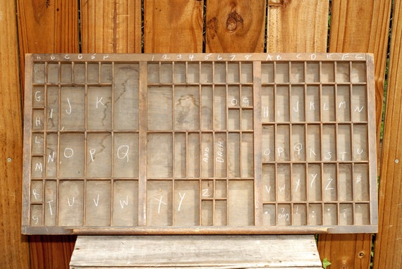 Vintage Antique Letterpress Type Drawer - Typeset Printer Tray Shadow Box Collectable Jewelry Display Wall Storage Box