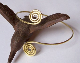 Upper Arm Jewelry - Armlet - Armband - Brass Hammered Tight Swirl Armband - Upper Arm Cuff - Bronze - Brass - Copper - German Silver