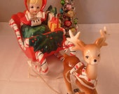 Reserved for Liii Rare Lefton Girl in Sleigh w Reindeer Figurines