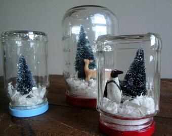 Handmade Snow Globe - Penguin with Bottle Brush Tree
