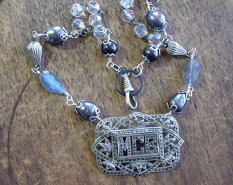 Vintage Assemblage Necklace Marcasite Brooch, Pearls, Labradorite    MAGNIFICENT CONFIDENT BEAUTIFUL