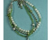 Josephine Bracelet with Peridot, Freshwater Pearls, and Sterling Silver
