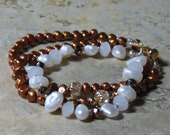 Cinnamon and White Pearl Bracelet with Champagne Crystal,  Multi-Strand Pearl Bracelet