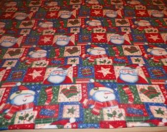 Snowmen and Santa Fleece Throw Blanket