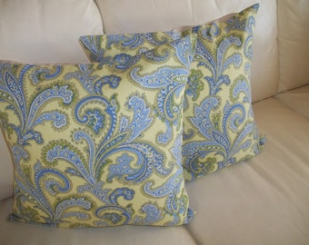 SALE Throw Pillow Cover Blue & Green Paisley 16 x 16 Set of 2