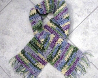 Neck Scarf Pastel Multi Colored Lilac Green Blue Yellow Hand Made Variegated Fringed Scarves