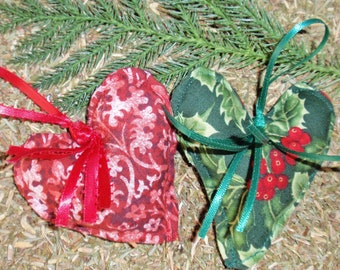SUMMER SALE - Handmade CHRISTMAS Ornaments - Set of 2, Balsam Fir Filled Heart Ornaments, Handmade Christmas Heart Ornaments, Christmas Gift