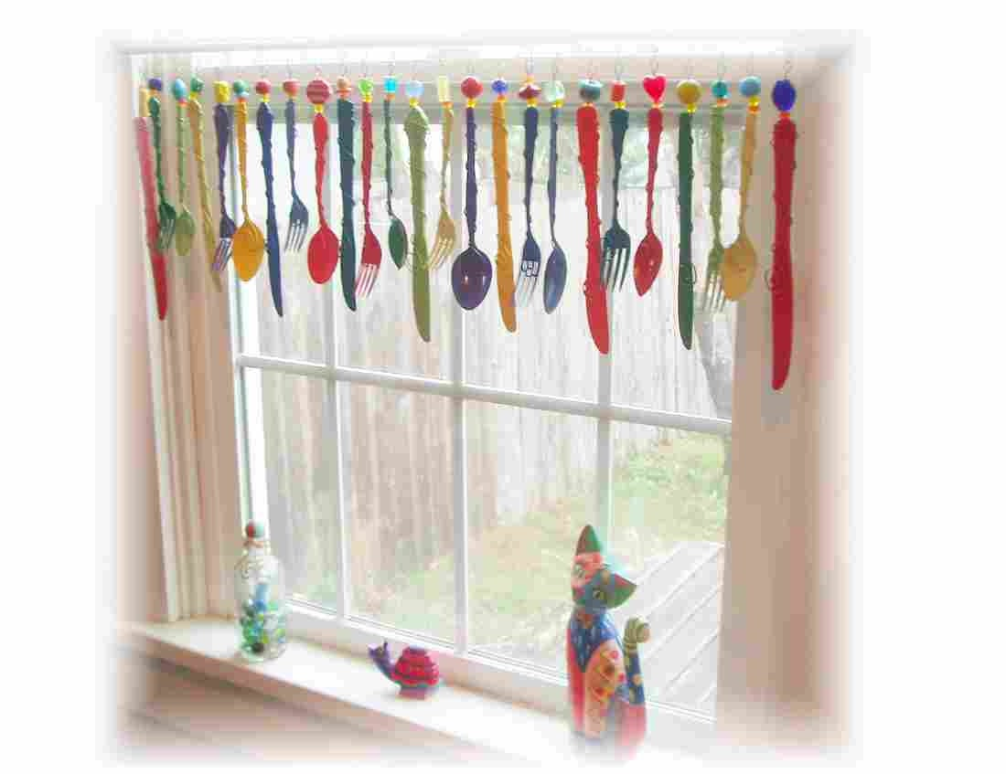 Colorful Flatware Whimsy Window Treatment by LittleLaLaOriginals