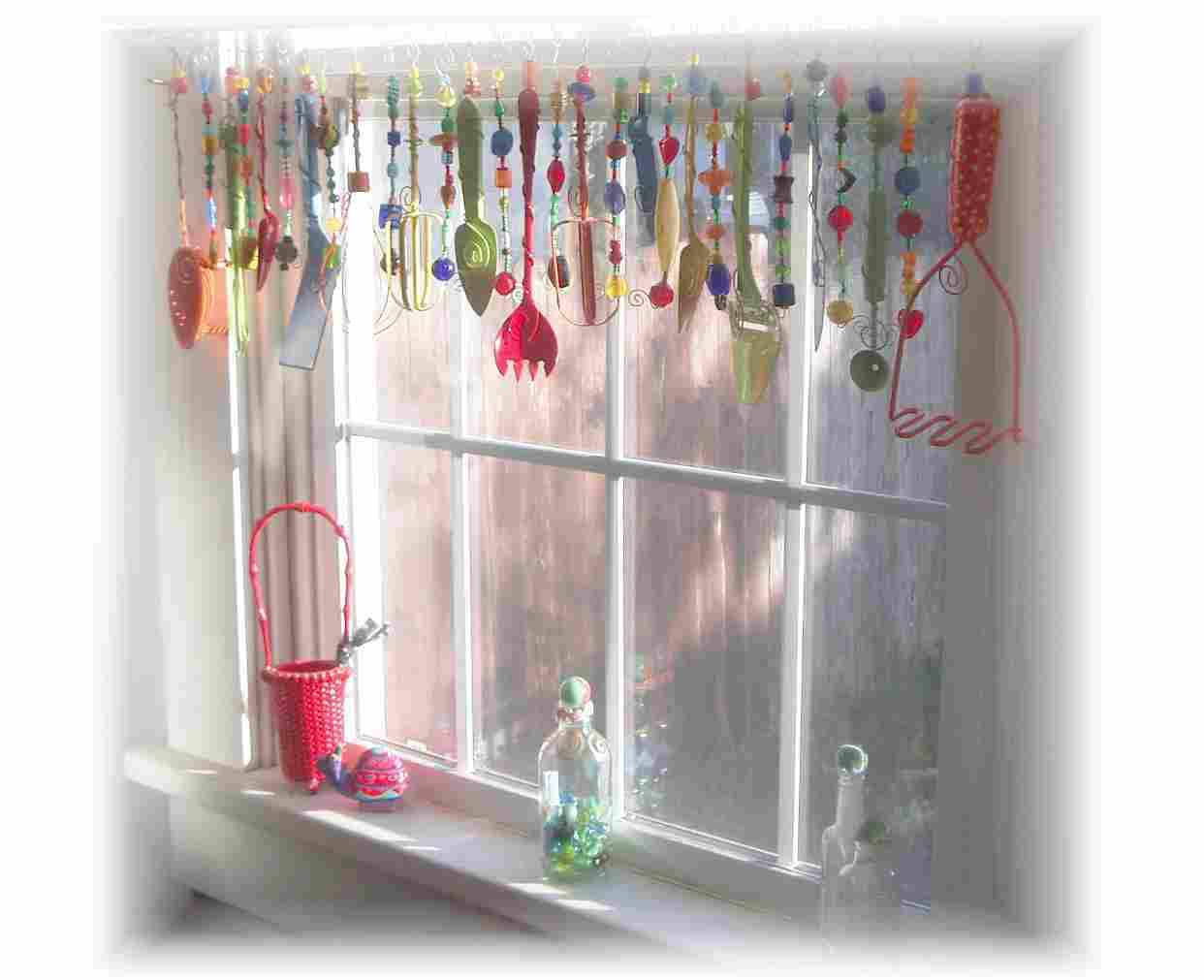 Super Kitschy Colorful Whimsical Kitchen Window Treatment