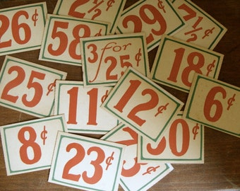 10 Vintage Antique General Store Price Cardboard Tags Lot