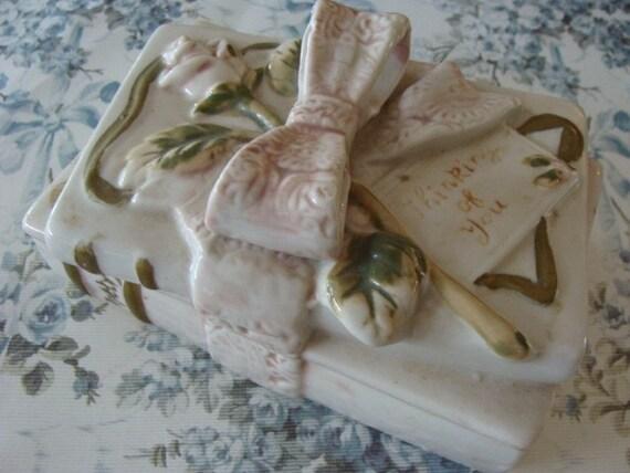 Rare 1930s Antique Storage Victorian Porcelain Letter Keepsake