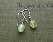 """Prehnite Dangle Earrings in Reclaimed Silver-""""Droplet Earrings in Sprout"""""""