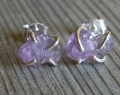 Rustic Prong Set Raw Amethyst Stud Earrings in Sterling Silver February Birthstone