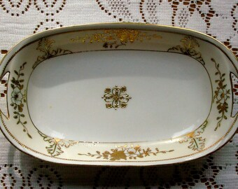 CLEARANCE 1891 Porcelain Bowl / Antique Nippon / Moriage / Hand Painted / 8 Inch / Coupe Style