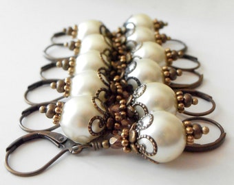 Rustic Ivory Pearl Earrings for Bridesmaids
