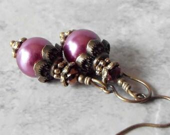 Plum Pearl Earrings Sangria Bridesmaid Jewelry Vintage Style Dangle Earrings Mulberry Wedding Jewelry Sets Beaded Earrings Bridesmaid Gift