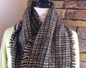 Infinity Scarf- Very Soft Woven Multi Yarns Reversible Pink-Green-White- Brown  on reverse side-  Handpulled  Fringe-  on both edges