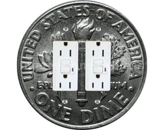 Dime Coin Double GFI Outlet Plate Cover