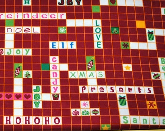 Fat Quarter Cute Holiday Christmas Crossword Fabric