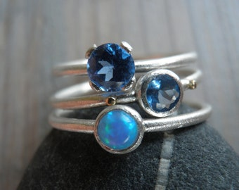 Engagement Rings Set, Stacking Rings, Vintage Inspired Classic Aqua Blue Zirconia and Opal Rings, Sterling Silver Rings, Statement Rings.