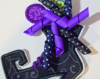 Iron On Applique -Lollipop and Korker Bow Witches Boot