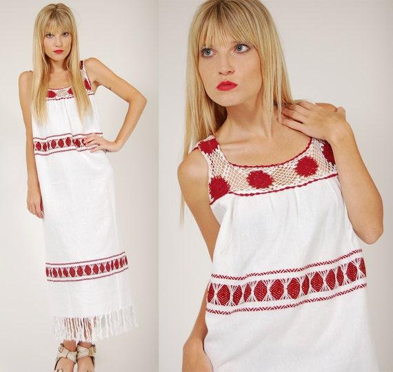 Vintage 80s ETHNIC Dress White & Burgundy Guatemalan CROCHET Festival MAXI
