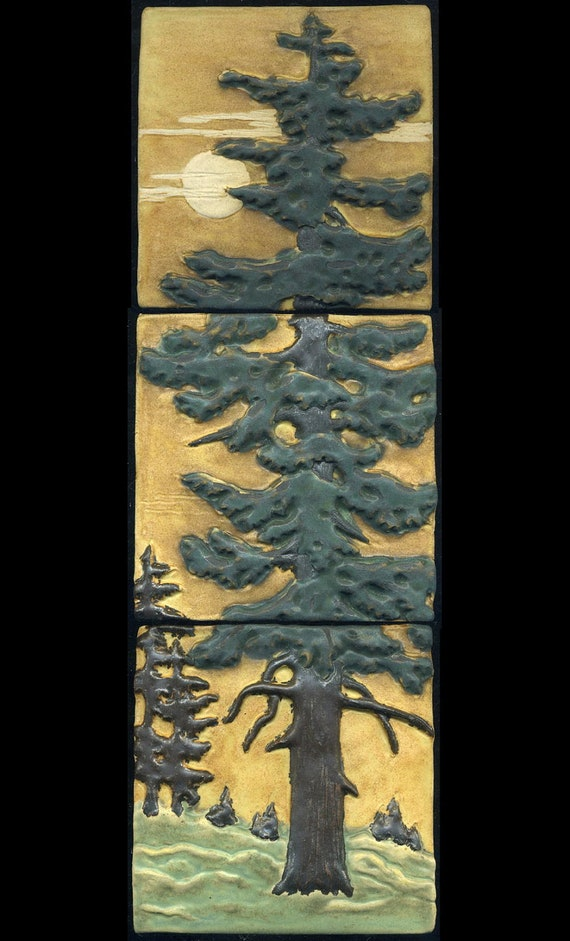 Craftsman Style Fir Tree Triptych Three Tile Set