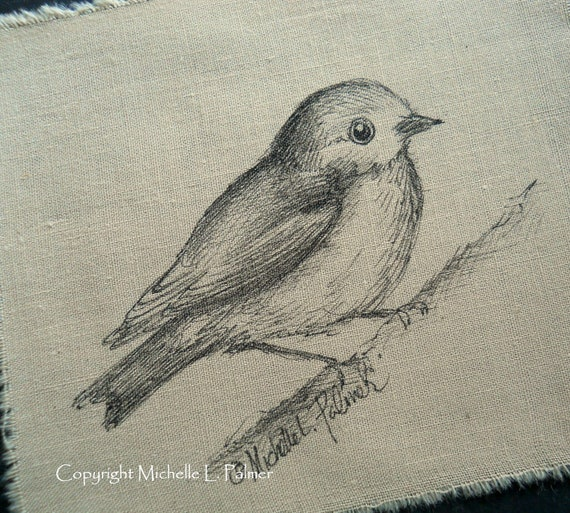 Original Pen Ink Art Illustration Fall Finch Tea Stained Fabric Michelle Palmer