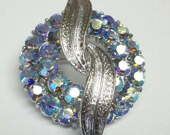 Vintage AB blue rhinestones round brooch,2 silver leaves,rhinestone brooch,round rhinestone brooch,AB blue rhinestone brooch,silver leaves,
