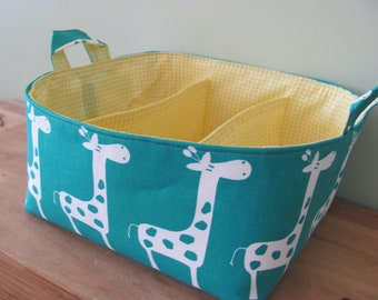 NEW Fabric Diaper Caddy - Fabric organizer storage bin basket - Perfect for your nursery - Turqouise/White Giraffes