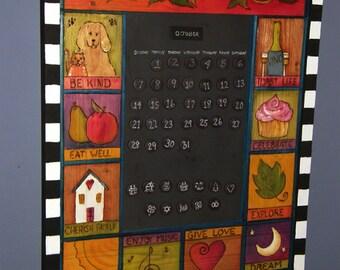 CUSTOM CALENDAR - Perpetual Calendar-  Wood Calendar-  Whimsical Calendar - Wall Calendar - Handmade - Custom Perpetual calendar