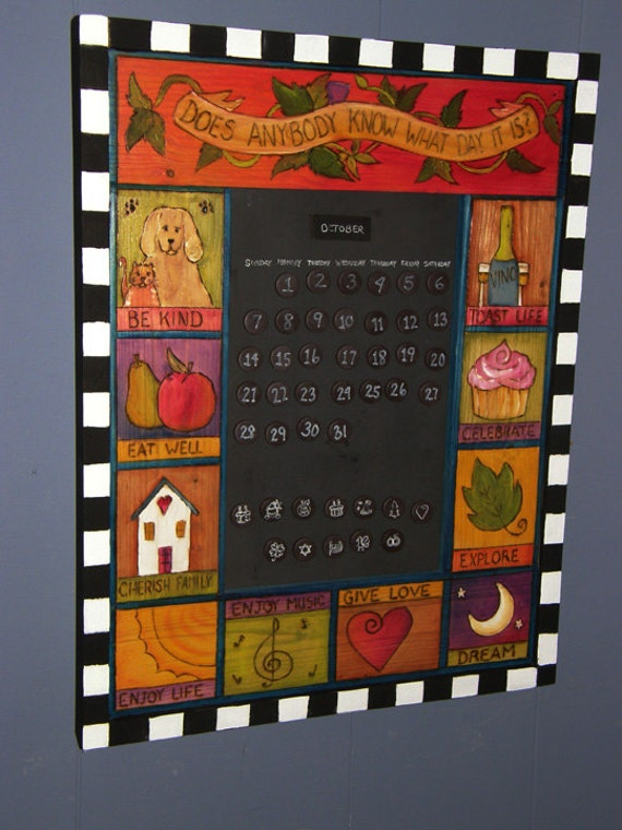 Items similar to calendar perpetual calendar wood calendar whimsical calendar wall calendar - Wooden perpetual wall calendar ...