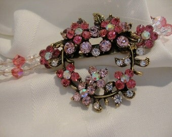 Pretty in Pinks Rhinestone Crystal Flower Choker- Repurposed Brooch
