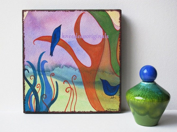 Abstract colorful watercolor 6x6 fine art painting on wood block Morning Glory Mothers Day home decor