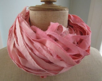 Party Pink Hand Dyed Muslin Ribbon Yarn