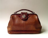 vintage Brown Faux Leather Doctor Bag with Reptile Embossed Trim