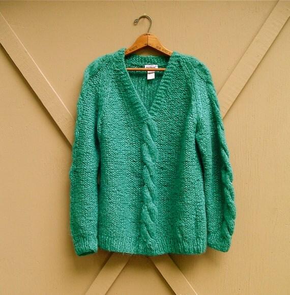 R e s e r v e d..................................vintage Deep Teal Green Italian Woolen Cable Knit Sweater