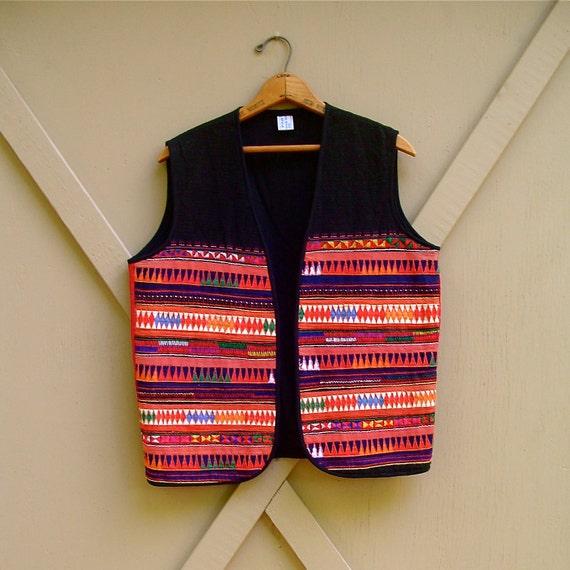 Vibrant vintage Colorful Thai Embroidered Handmade Vest