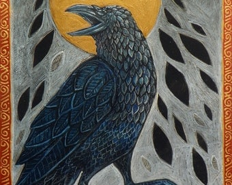 Raven, Crow, Celtic Bird Animal Halloween Art by Lynnette Shelley