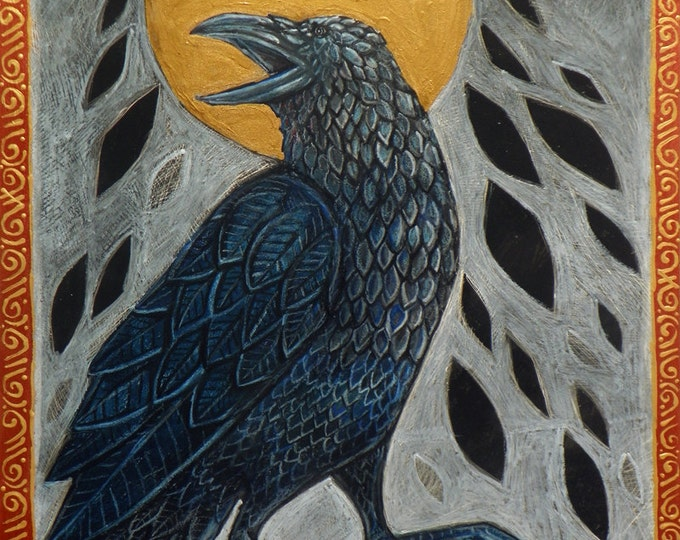 Raven, Crow, Celtic Bird Animal Halloween Art by Lynnette Shelley