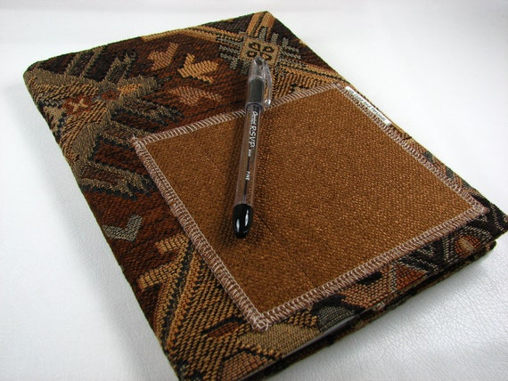 Navajo - Fabric Covered Composition Book Journal with Pocket - Brown Black Tan