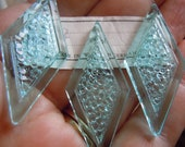 Wonderful Textured Blue Diamonds - New Old Stock Vintage West German Lucite for Jewelry Making - elp260