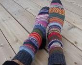 Hand Knit Blue Heeled Socks