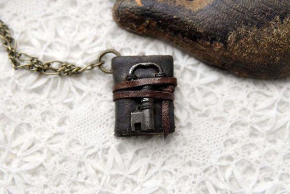 The Secret Keeper - Rustic Brown Leather Miniature Wearable Book with Tea Stained Pages & Tiny Rare Vintage Key