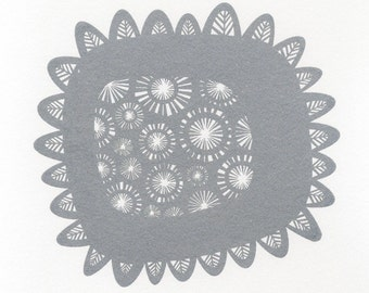 Abstract Print based on a sunflower, Printed in Beautiful Sparkly Silver Ink gocco Screenprint