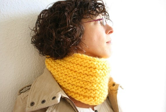 Yellow Handknitted Cowl Neckwarmer Bicycle accessories