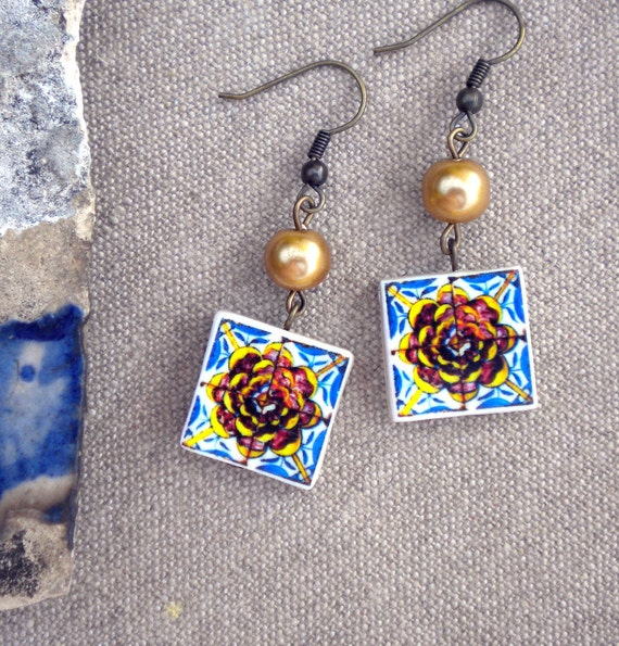 Portugal Tile Antique Replicas 17th Century BLUE and GOLD CAMELLIA Earrings (see photo)  Waterproof and Reversible 306